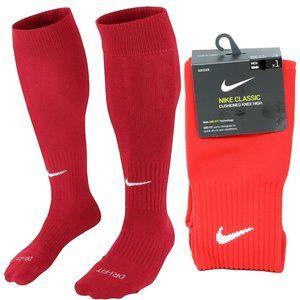 Nike Classic Knee High Soccer Socks Red Over Calf